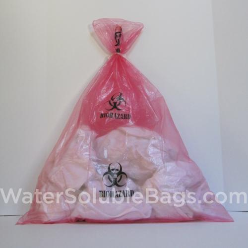 red biohazard water soluble bag
